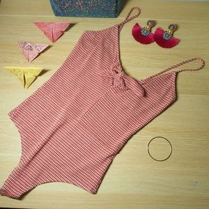 VTG Gingham red and white Body with bow Sz S